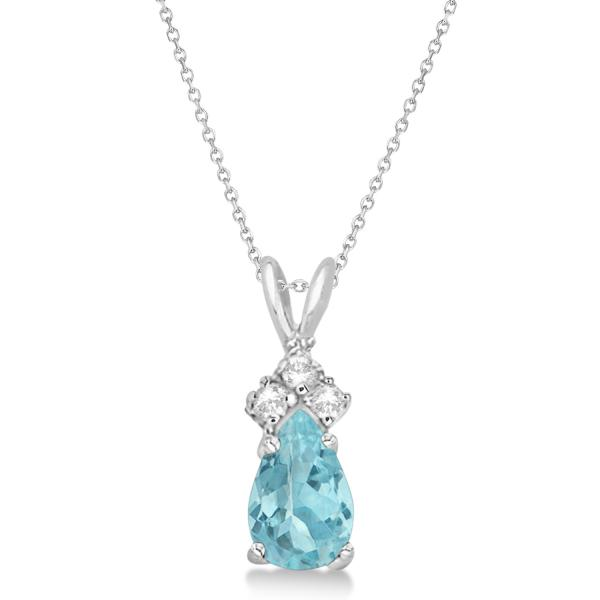 Pear Aquamarine & Diamond Solitaire Pendant 14k White Gold (0.75ct)