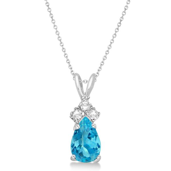 Pear Blue Topaz & Diamond Solitaire Pendant 14k White Gold (0.75ct)