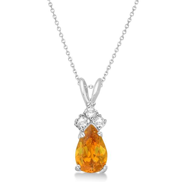 Pear Citrine & Diamond Solitaire Pendant 14k White Gold (0.75ct)