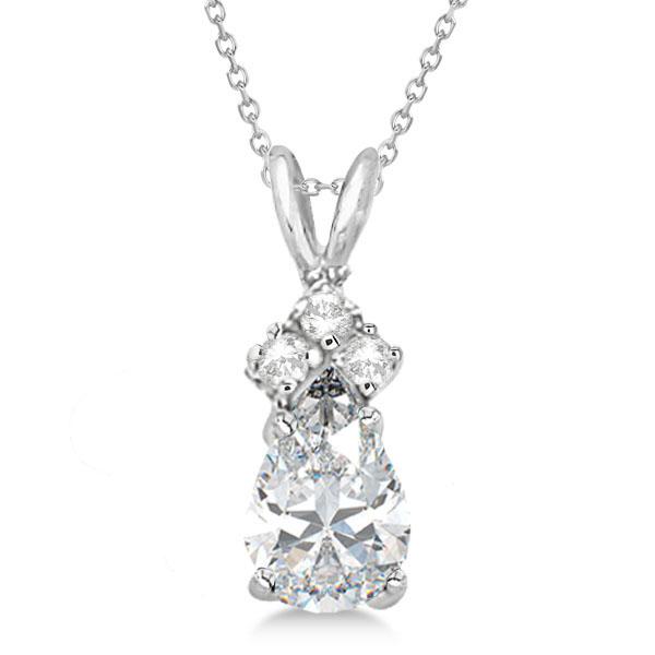Pear Moissanite & Diamond Solitaire Pendant 14k White Gold (0.75ct)