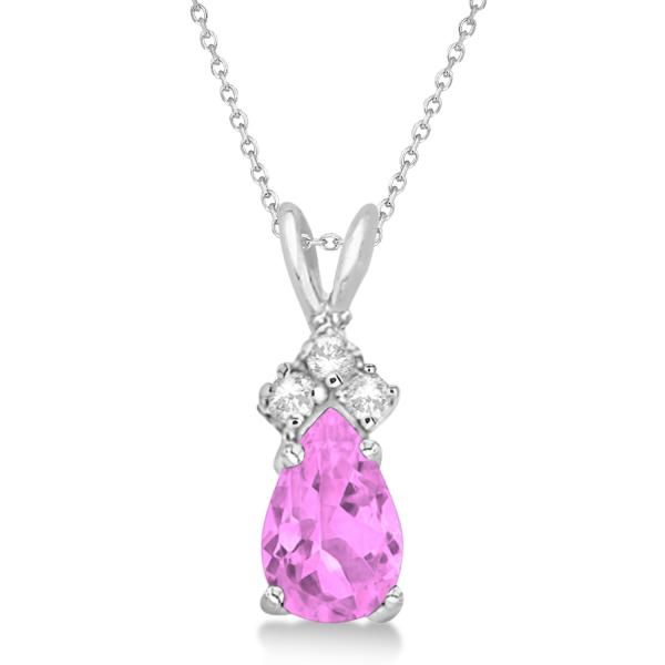 Pear Pink Sapphire & Diamond Solitaire Pendant 14k White Gold (0.75ct)