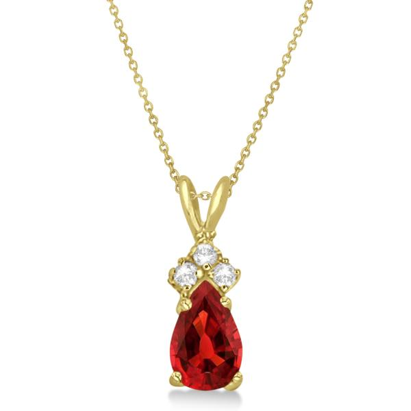 Pear Garnet & Diamond Solitaire Pendant 14k Yellow Gold (0.75ct)