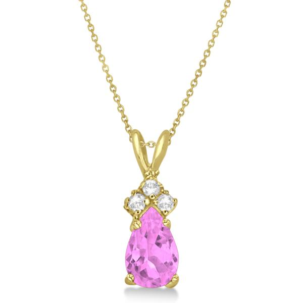 Pear Pink Sapphire & Diamond Solitaire Pendant 14k Yellow Gold (0.75ct)