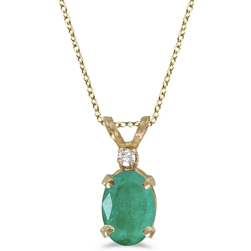 Oval Emerald and Diamond Solitaire Pendant 14K Yellow Gold (0.75ct)