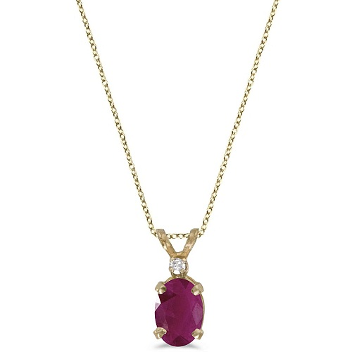 Oval Ruby and Diamond Solitaire Pendant 14K Yellow Gold (1.00ct)