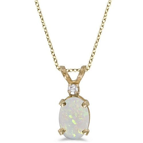 Oval Opal and Diamond Solitaire Pendant 14K Yellow Gold (0.50ct)