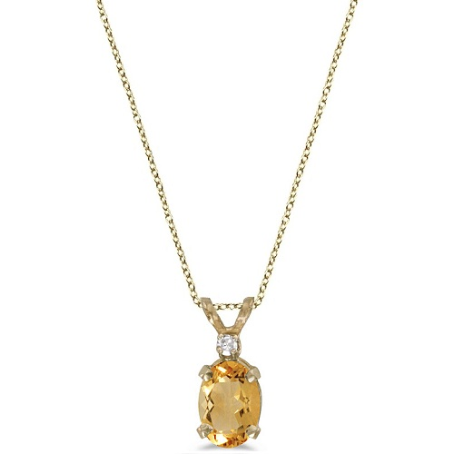 Oval Citrine and Diamond Solitaire Pendant 14K Yellow Gold (0.83ct)