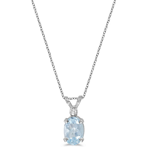 Oval Aquamarine & Diamond Solitaire Pendant 14K White Gold (0.75ct)
