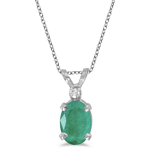 Oval Emerald and Diamond Solitaire Pendant 14K White Gold (0.75ct)
