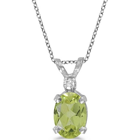Oval Peridot and Diamond Solitaire Pendant 14K White Gold (0.93ct)