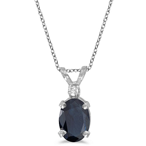 Oval Sapphire & Diamond Solitaire Pendant 14K White Gold (1.00ct)