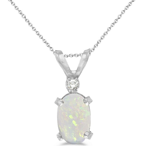 Oval Opal and Diamond Solitaire Pendant 14K White Gold (0.50ct)