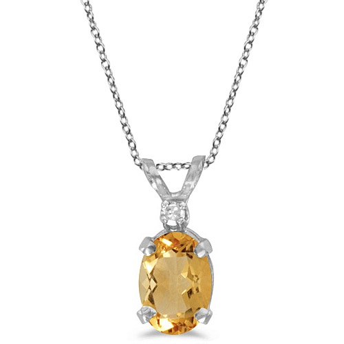 Oval Citrine and Diamond Solitaire Pendant 14K White Gold (0.83ct)