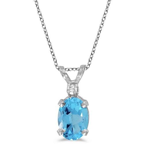 Oval Blue Topaz & Diamond Solitaire Pendant 14K White Gold (1.00ct)