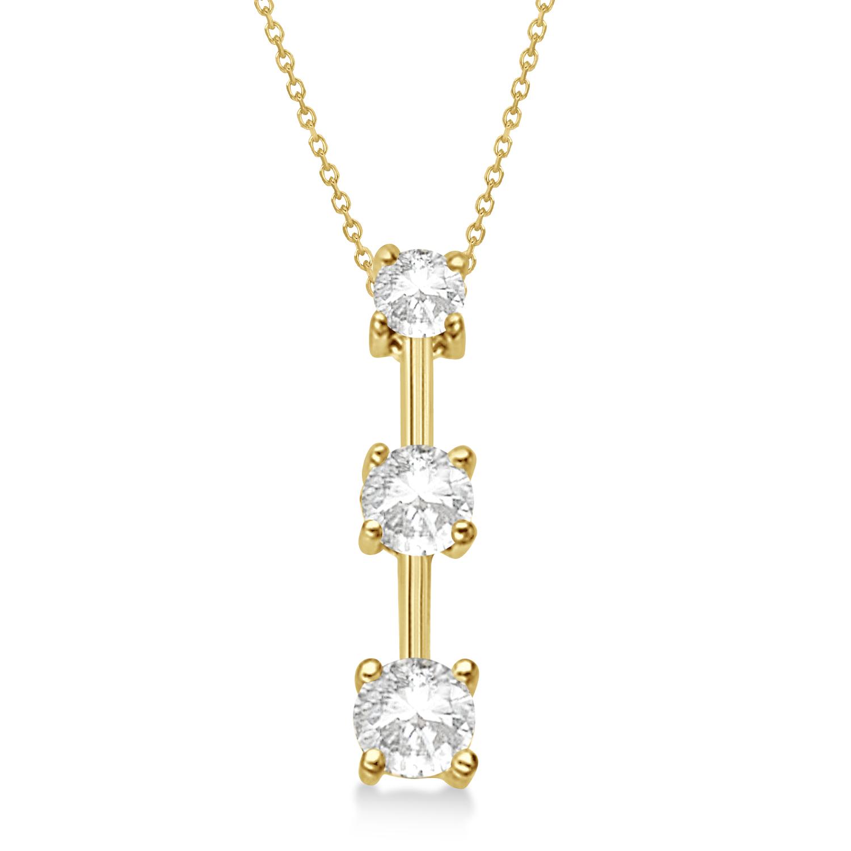 Three-Stone Graduated Diamond Pendant Necklace 14k Yellow Gold (1.00ct)