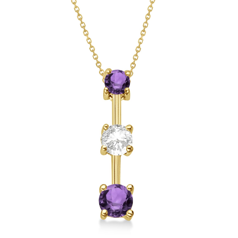 Amethysts & Diamond Three-Stone Necklace 14k Yellow Gold (0.50ct)