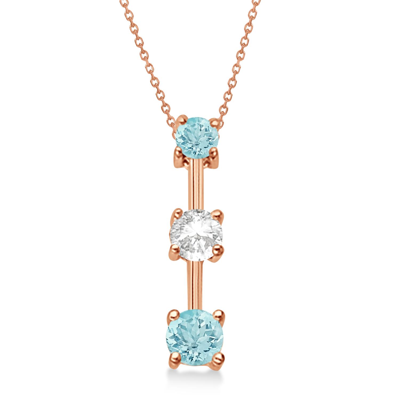 Aquamarines & Diamond Three-Stone Necklace 14k Rose Gold (0.25ct)