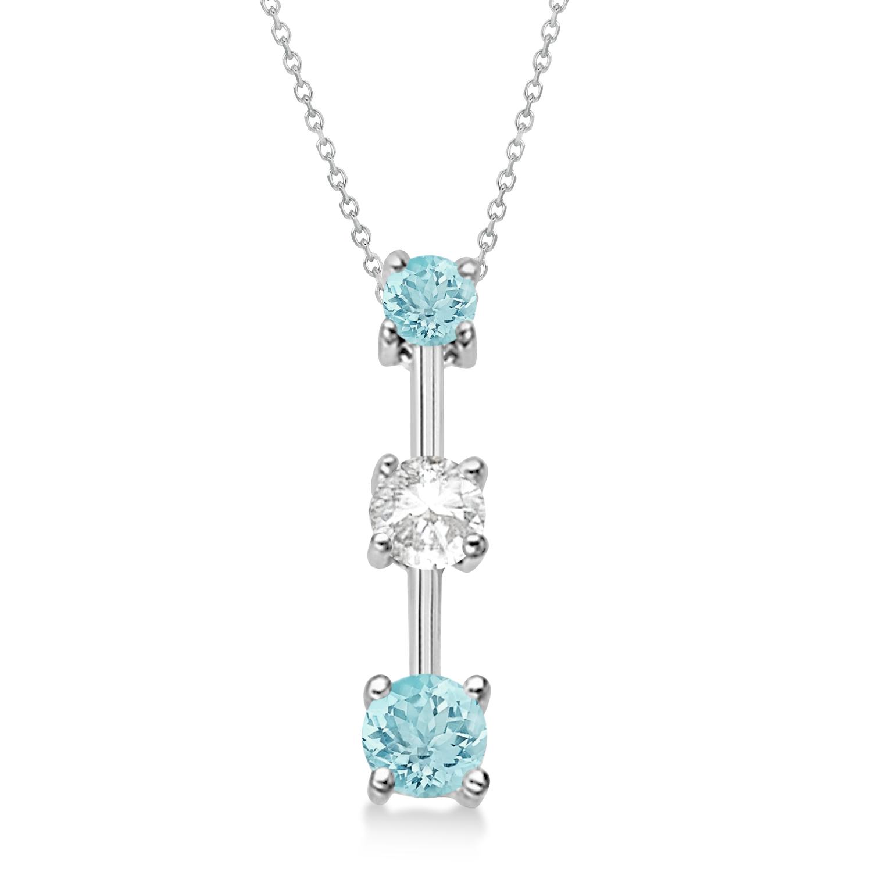 Aquamarines & Diamond Three-Stone Necklace 14k White Gold (0.25ct)