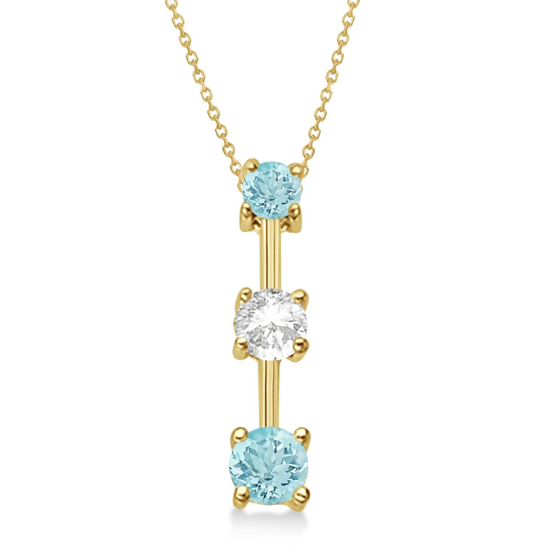 Aquamarines & Diamond Three-Stone Necklace 14k Yellow Gold (0.50ct)