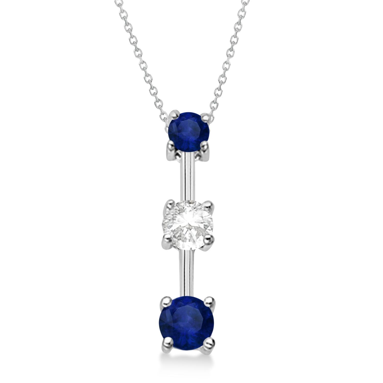Blue Sapphires & Diamond Three-Stone Necklace 14k White Gold (0.25ct)