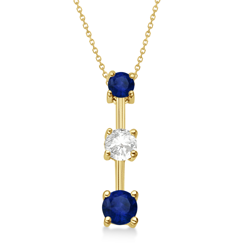 Blue Sapphires & Diamond Three-Stone Necklace 14k Yellow Gold (0.50ct)