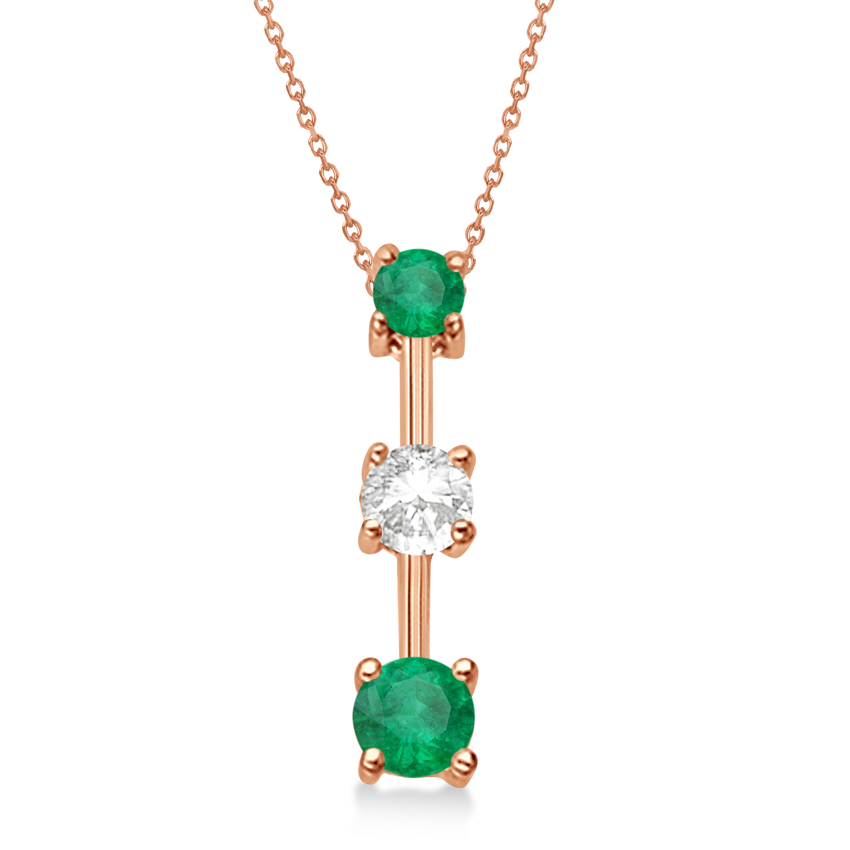 Emeralds & Diamond Three-Stone Necklace 14k Rose Gold (0.25ct)