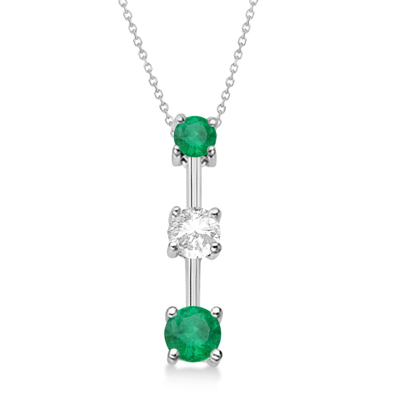 Emeralds & Diamond Three-Stone Necklace 14k White Gold (0.25ct)