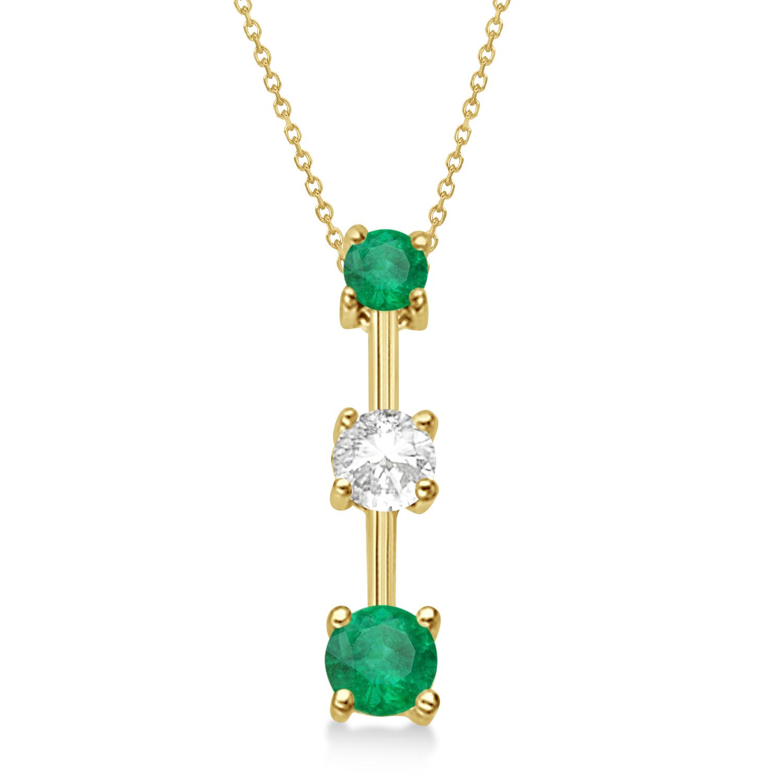 Emeralds & Diamond Three-Stone Necklace 14k Yellow Gold (0.25ct)