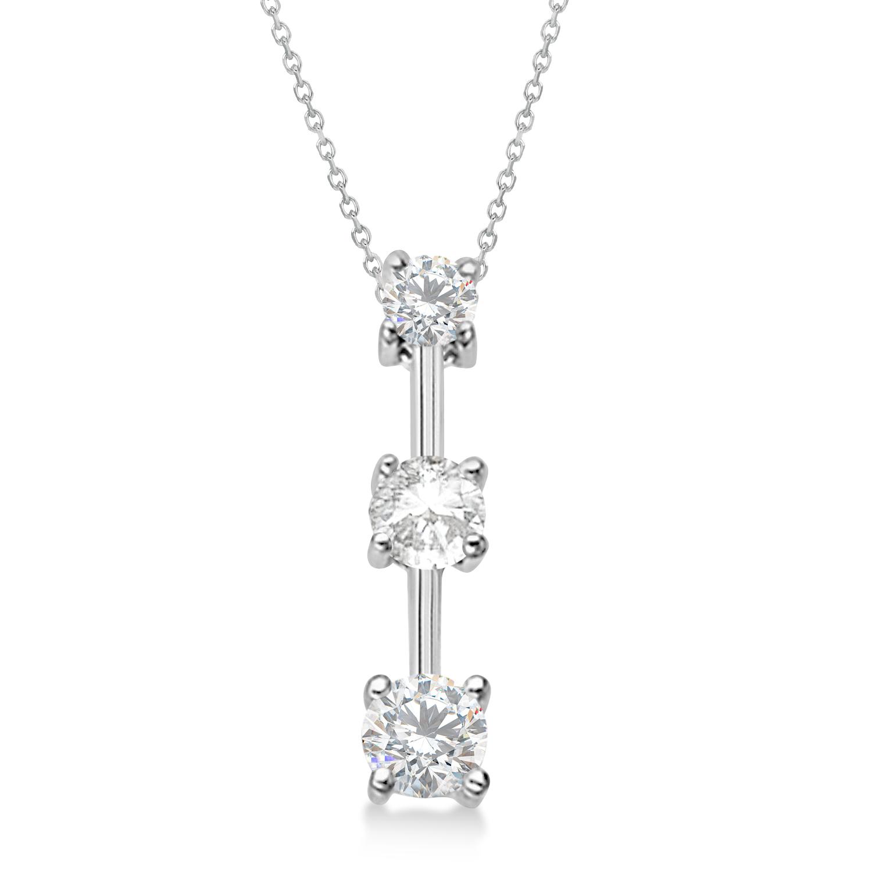 Moissanites & Diamond Three-Stone Necklace 14k White Gold (1.00ct)
