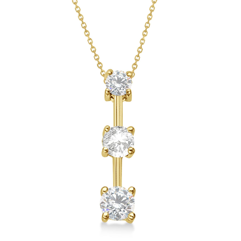 Moissanites & Diamond Three-Stone Necklace 14k Yellow Gold (0.25ct)