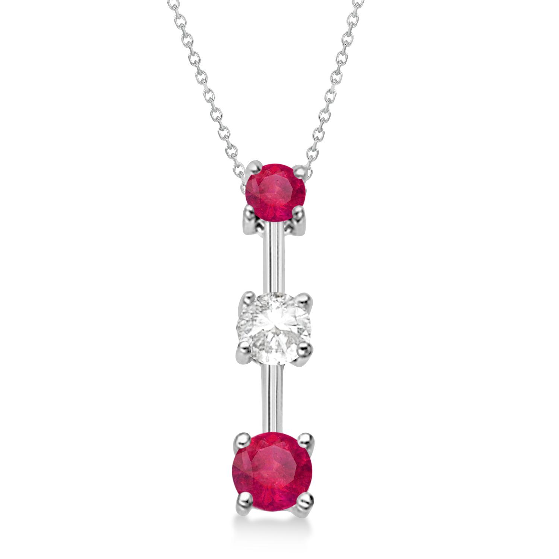 Rubies & Diamond Three-Stone Necklace 14k White Gold (0.25ct)