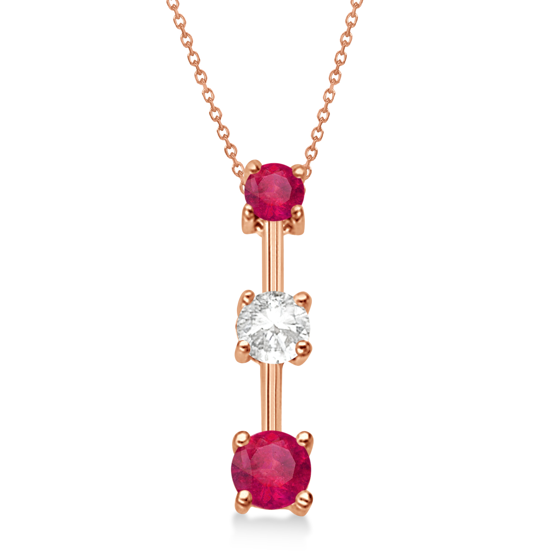 Rubies & Diamond Three-Stone Necklace 14k Rose Gold (0.50ct)