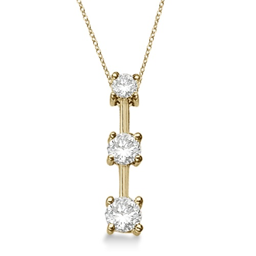 Three-Stone Graduated Diamond Pendant Necklace 14k Yellow Gold (0.25ct)