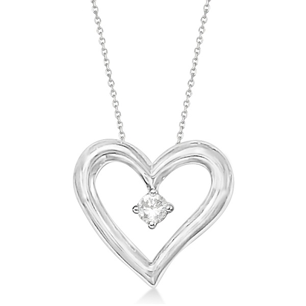 Open Heart Diamond Pendant Necklace in 14K White Gold (0.05ct)