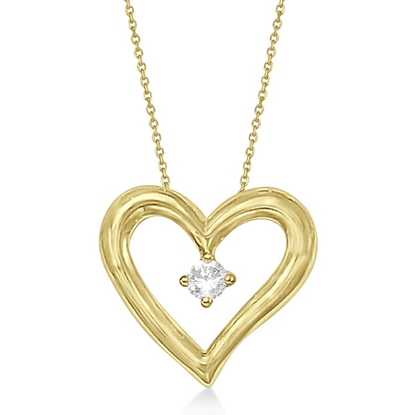 Open Heart Diamond Pendant Necklace in 14K Yellow Gold (0.05ct)