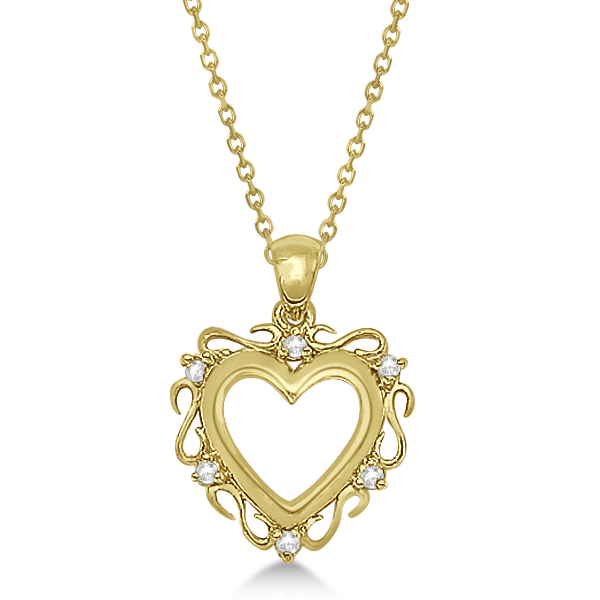 Infinity Diamond Open Heart Pendant Necklace 14K Yellow Gold (0.10ct)
