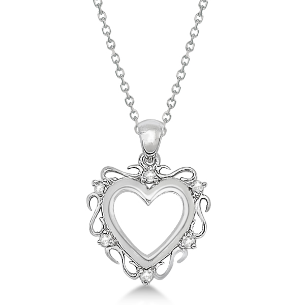 Infinity Diamond Open Heart Pendant Necklace 14K White Gold (0.10ct)