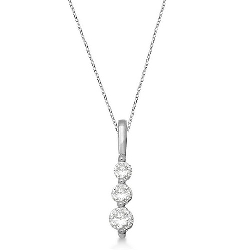 Three-Stone Graduated Diamond Pendant Necklace 14k White Gold (0.25ct)
