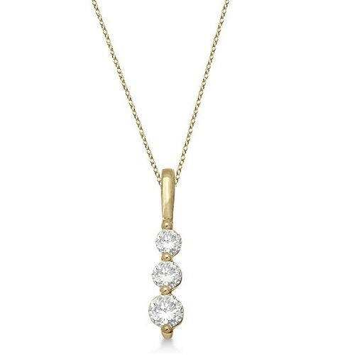 Three-Stone Graduated Diamond Pendant Necklace 14k Yellow Gold (0.25ct)