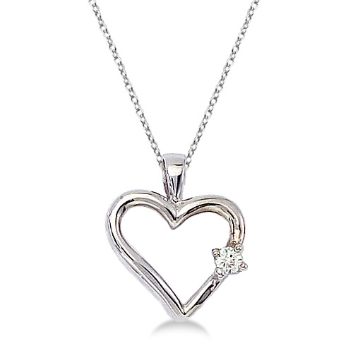 Diamond Open Heart Shaped Pendant Necklace 14k White Gold