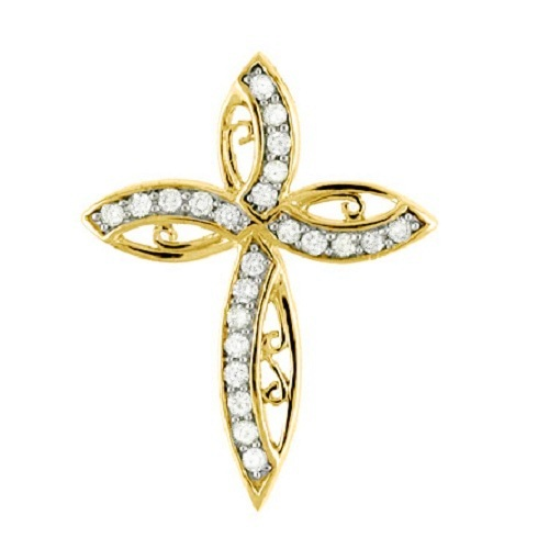 Diamond Cross Pendant Necklace in 14k Yellow Gold (0.32ct)