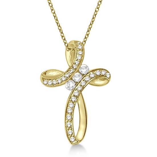Diamond Swirl Cross Pendant Necklace 14k Yellow Gold (0.25ct)
