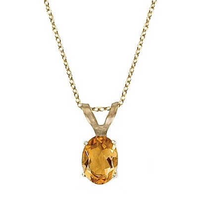 Oval Citrine Solitaire Pendant Necklace 14K Yellow Gold (8x6mm)