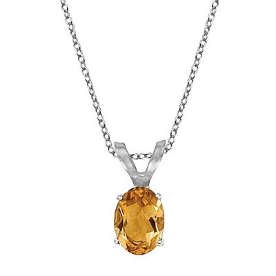 Oval Citrine Solitaire Pendant Necklace 14K White Gold (8x6mm)