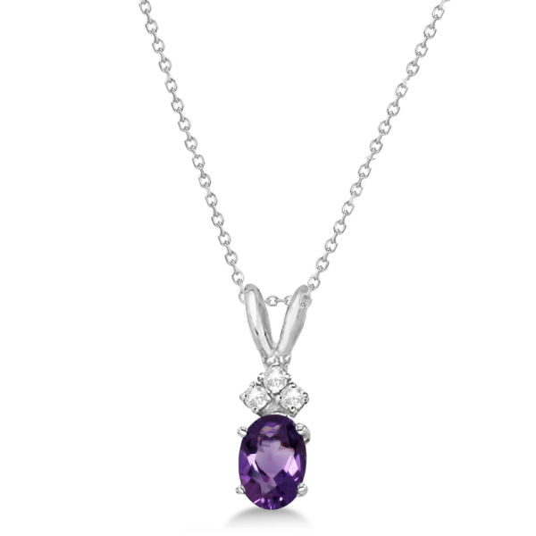 Oval Amethyst Pendant with Diamonds 14K White Gold (0.86ctw)