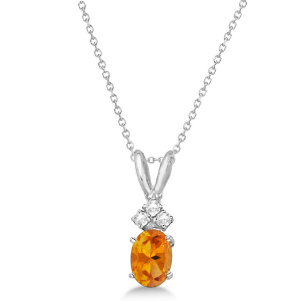 Oval Citrine Pendant with Diamonds 14K White Gold (0.86ctw)