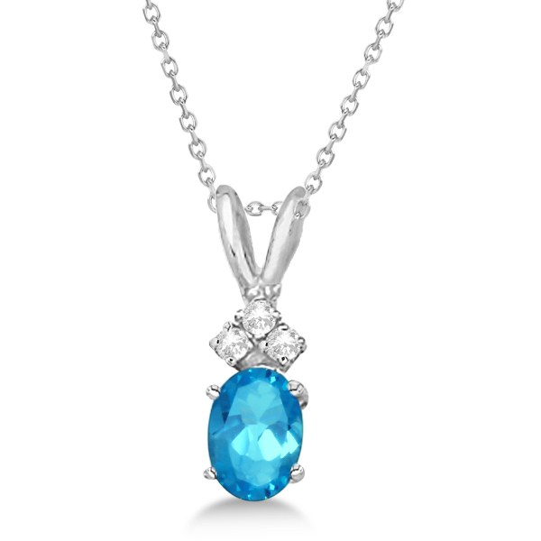 Blue Topaz Pendant with Diamonds 14K White Gold (1.06ctw)