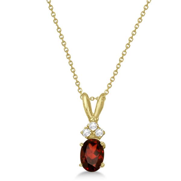Oval Garnet Pendant with Diamonds 14K Yellow Gold (1.01ctw)