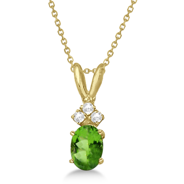Oval Peridot Pendant with Diamonds in 14K Yellow Gold (0.96ctw)