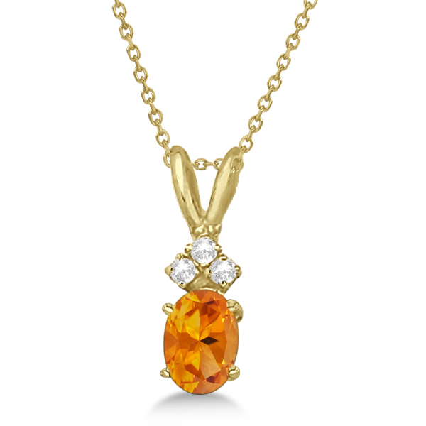 Oval Citrine Pendant with Diamonds 14K Yellow Gold (0.86ctw)